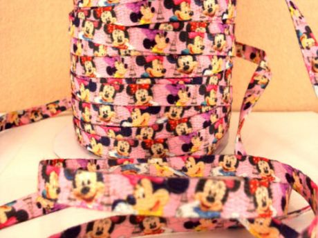 1 METRE OF MINNIE MOUSE 3/8 DOUBLE SIDED SHOE LACE